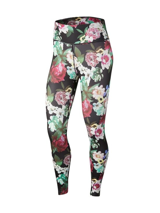 Nike - One Floral 7/8 Leggings -treenitrikoot - 010 BLACK/METALLIC SILVER | Stockmann - photo 1