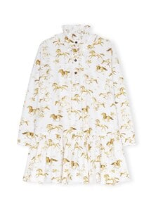 Ganni - Printed Cotton Poplin Oversized Dress -mekko - COGNAC   Stockmann