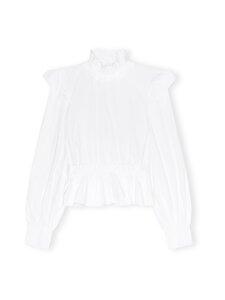 Ganni - Cotton Poplin Cropped Blouse -pusero - BRIGHT WHITE | Stockmann