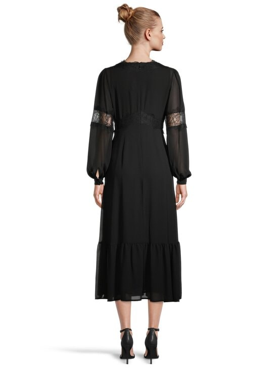 Michael Michael Kors - Lace Trim Georgette Midi Dress -mekko - 001 BLACK | Stockmann - photo 3