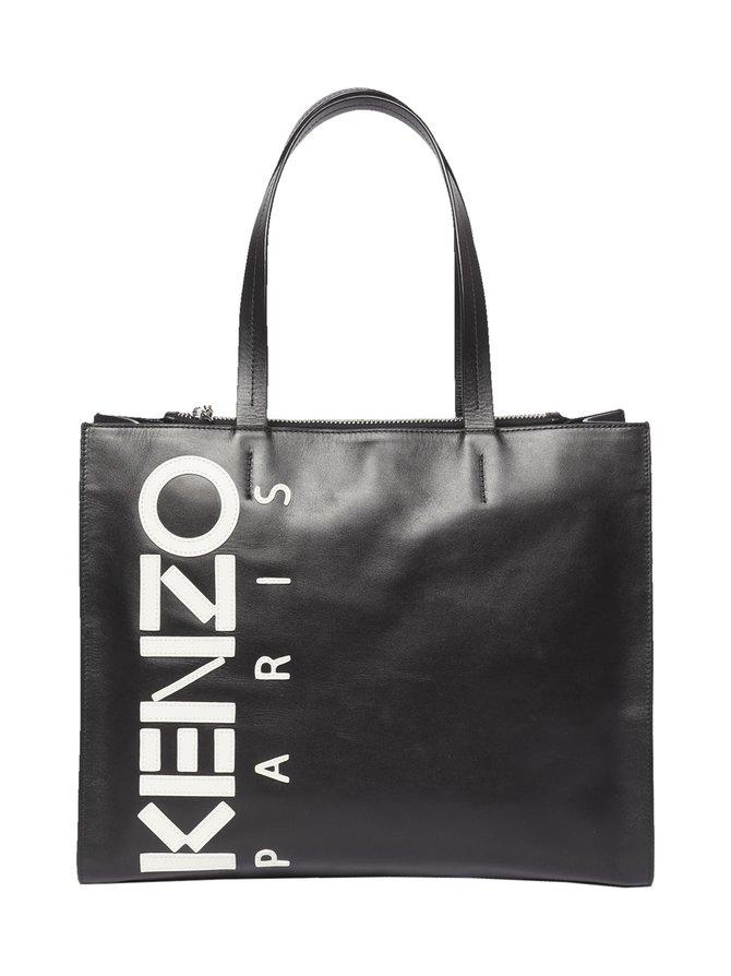 Leather Kenzo Logo Tote Bag -nahkalaukku