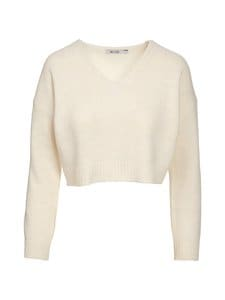 NA-KD - Cropped V-neck Knitted Sweater -paita - WHITE | Stockmann