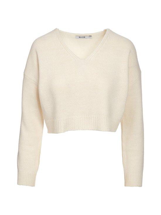 NA-KD - Cropped V-neck Knitted Sweater -paita - WHITE | Stockmann - photo 1