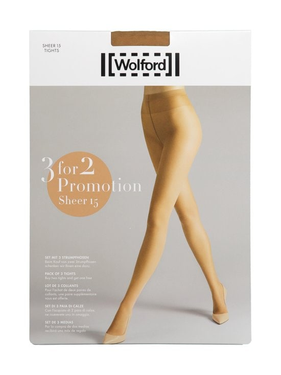 Wolford - Sheer 15 den -sukkahousut 3-pack - 4060 HONEY | Stockmann - photo 1