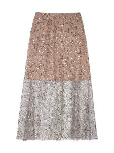 Self-Portrait - Leaf Sequin Midi Skirt -hame - LIGHT GREY | Stockmann