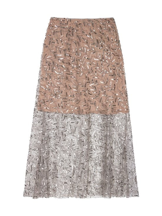 Leaf Sequin Midi Skirt -hame