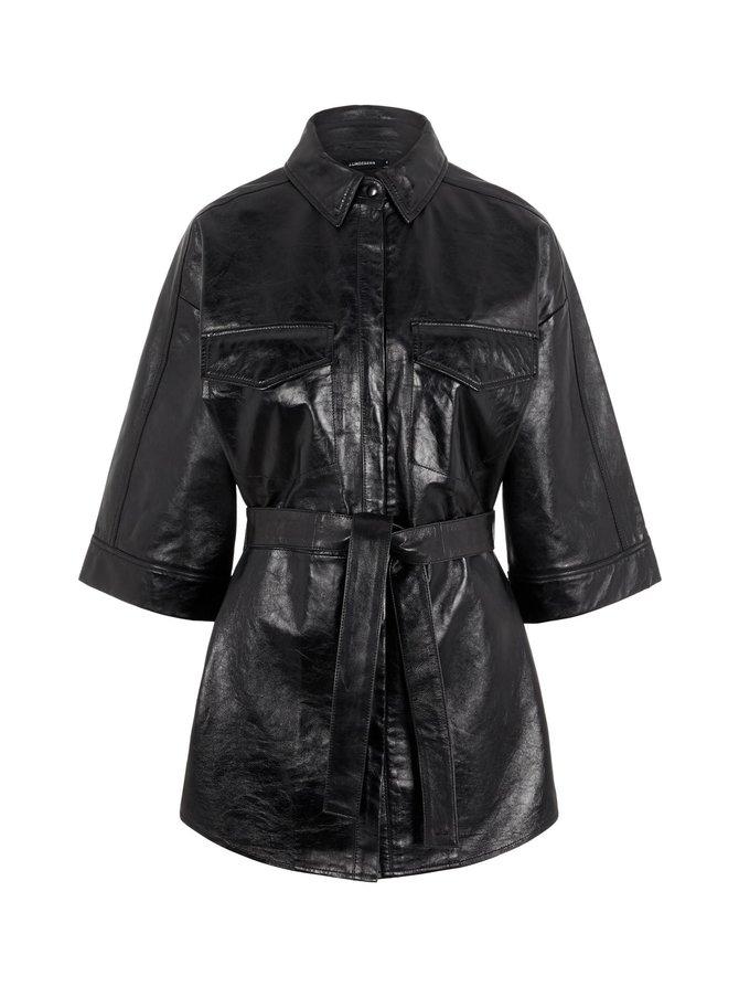 Janis Leather Overshirt -nahkatakki