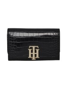 Tommy Hilfiger - TH Lock Med Flap Wallet -lompakko - 0GJ BLACK CROC | Stockmann
