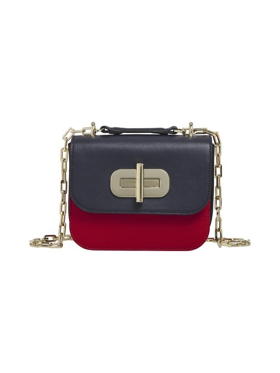 Tommy Hilfiger - Turnlock Small Leather Crossover Bag -nahkalaukku - CJM SKY CAPTAIN/RED | Stockmann - photo 1