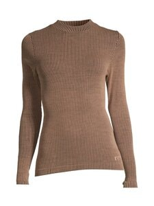Casall - Wool Rib Long Sleeve -paita - 153 BLACK BEIGE RIB | Stockmann