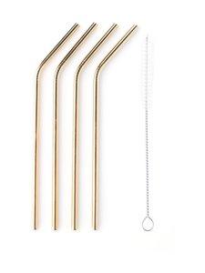 Point Virgule - Kaarevat metallipillit 4 kpl + puhdistusharja - GOLD | Stockmann