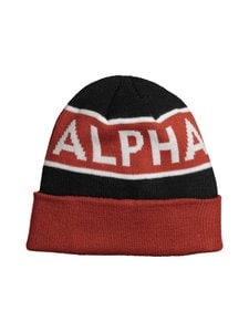 Alpha Industries - Block Beanie -pipo - BLACK/RED 94 | Stockmann