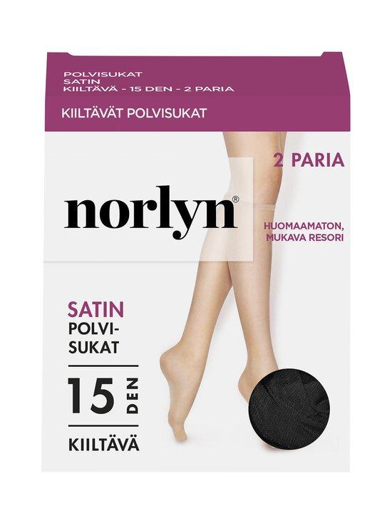 Norlyn - Satin 15 den -polvisukat 2-pack - BLACK | Stockmann - photo 1