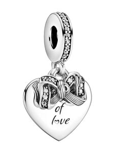 Pandora - Bow and Heart Dangle -riipus - CLEAR | Stockmann