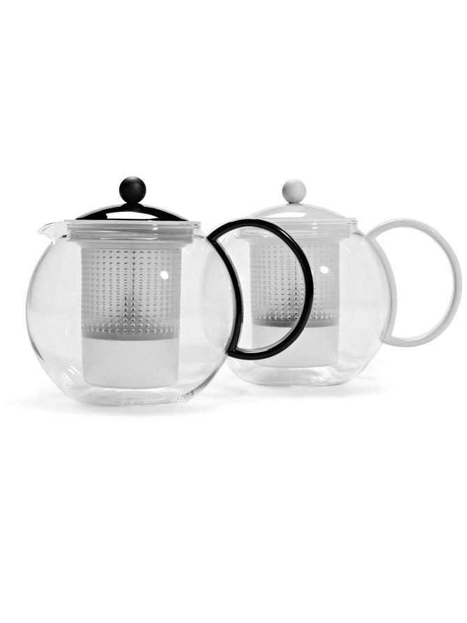 Assam-teekannu muovisihdillä, musta
