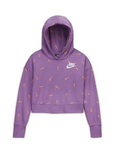 Nike - Cropped Pullover Hoodie -huppari - VIOLET STAR/ORANGE CHALK/WHITE | Stockmann
