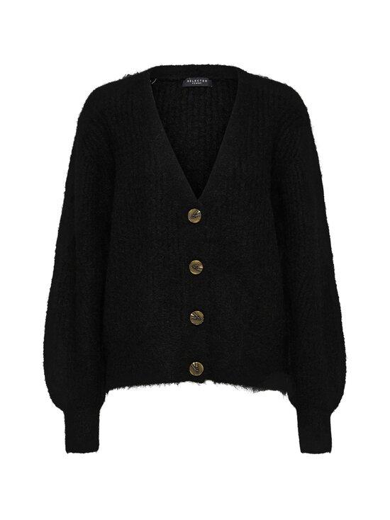Selected - SlfSif-Kai LS Rib Knit -villasekoiteneuletakki - BLACK | Stockmann - photo 1