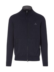GANT - Classic Cotton Zip Cardigan -neuletakki - 433 EVENING BLUE | Stockmann
