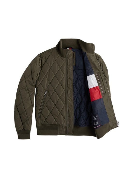 Tommy Hilfiger - Diamond Quilted Bomber -takki - MSE PROCESS GREEN | Stockmann - photo 4