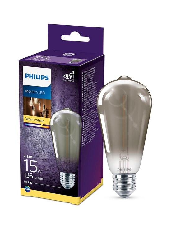 Philips - LED Smoky 2,3W ST64 E27 -lamppu - GREY | Stockmann - photo 3