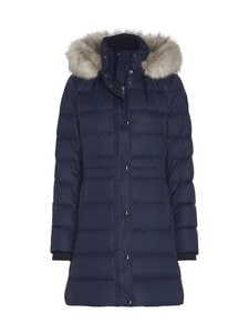 Tommy Hilfiger - Essential Down-Filled Faux Fur Trim Coat -untuvatakki - DW5 DESERT SKY | Stockmann