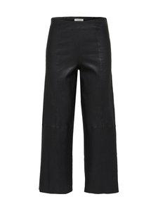 Selected - SlfAnna Crop Wide Strech Leather Pant -nahkahousut - BLACK   Stockmann