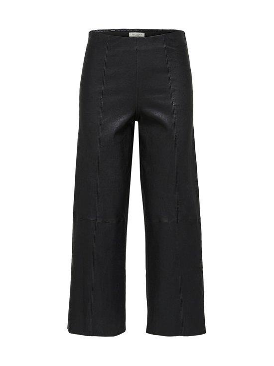 Selected - SlfAnna Crop Wide Strech Leather Pant -nahkahousut - BLACK | Stockmann - photo 1