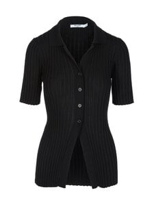 NA-KD - Ribbed Knitted Button -paita - BLACK | Stockmann