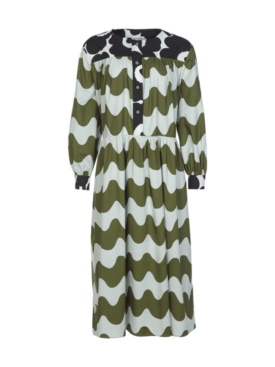 Marimekko - CO-CREATED Hohtosini dress -mekko - 116 DARK GREEN, OFF-WHITE, BLACK   Stockmann - photo 1