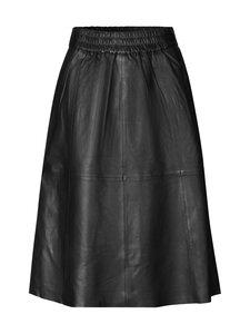 SECOND FEMALE - Melvin Leather Midi Skirt -nahkahame - 8001 BLACK | Stockmann