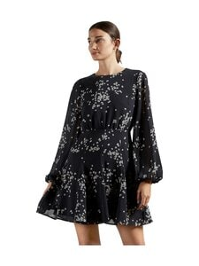 Ted Baker London - Eymma Elderflower Godet Pleated Mini Dress -mekko - 243932 00 BLACK | Stockmann