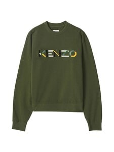 Kenzo - Logo Oversized Multicoloured Sweatshirt -collegepaita - 51 - ORGANIC BRUSHED MOLLETON - DARK KHAKI | Stockmann