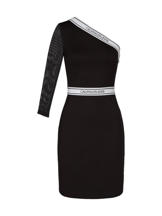Asymm Milano Logo Fitted Dress -mekko
