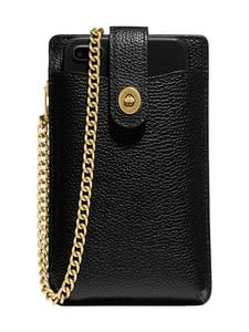 Coach - Turnlock Chain Phone Crossbody -nahkalaukku - GD/BLACK | Stockmann