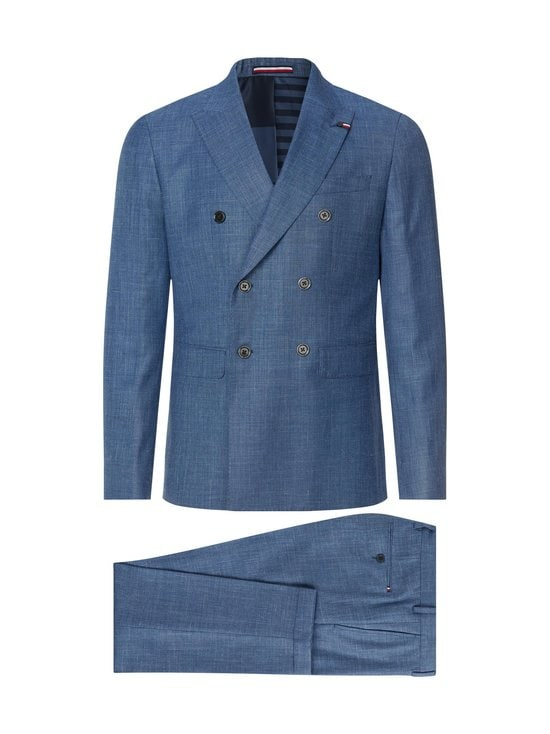 Tommy Hilfiger Tailored - Double Breasted Slim Fit Virgin Wool Suit -puku - DU9 BLUE HEATHER 05   Stockmann - photo 1