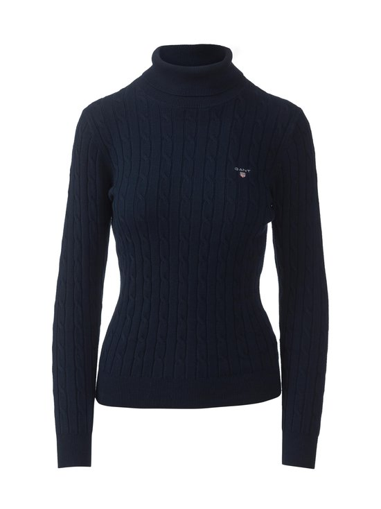 Stretch Cotton Cable Turtleneck -pooloneule