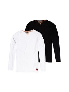 Superdry - Laundry Slim Fit LS Tee -paita 2-pack - U6W LAUNDRY BLACK/LAUNDRY WHITE | Stockmann