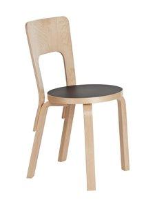 Artek - 66-tuoli, koottava - LAKATTU KOIVU / MUSTA LINOLEUMI | Stockmann