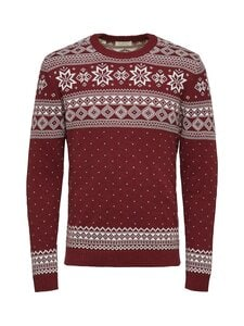Selected - SlhFlake Pattern Crew Neck -puuvillaneule - RED DAHLIA DETAIL:EGRET | Stockmann