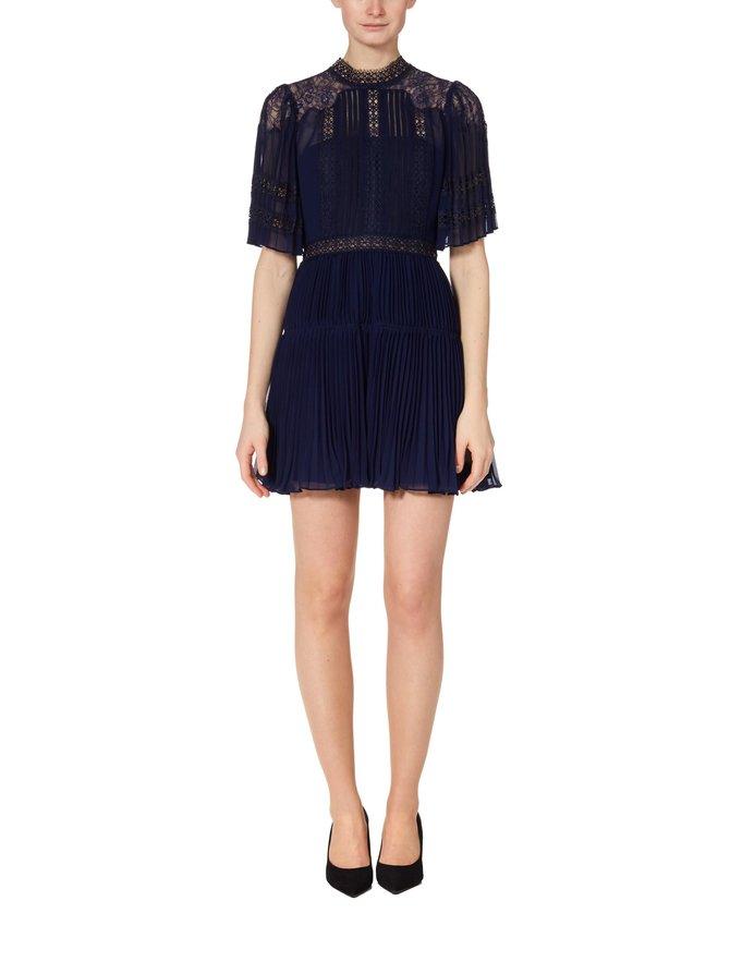 Chiffon Lace Panel Mini Dress -mekko