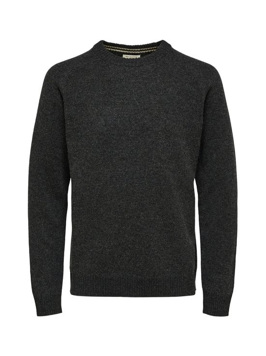 Selected - SlhNewcoban Lambs Wool Crew Neck -villaneule - ANTHRACITE DETAIL:KELP | Stockmann - photo 1