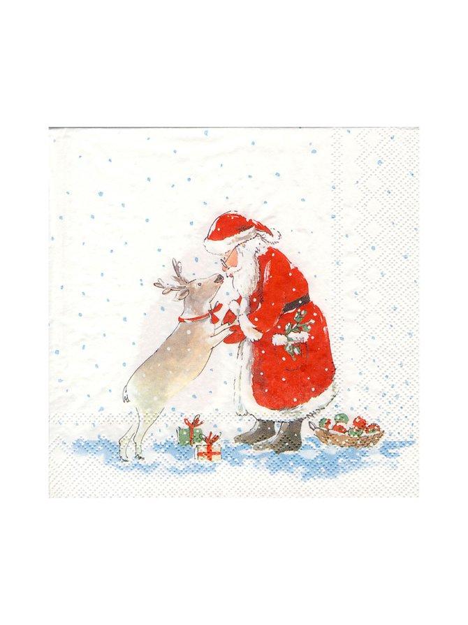 Santa's Best Friend -servetti 33 x 33 cm