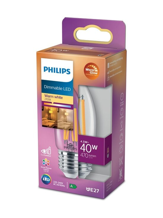 Philips - LED Candle 40W E27 Warm Glow Dimming -kynttilälamppu - WHITE | Stockmann - photo 1