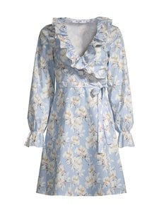 NA-KD - Wrap Frill -mekko - LIGHT BLUE FLOWER | Stockmann