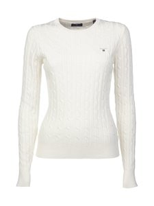 GANT - Stretch Cotton Cable Crew -neule - OFFWHITE | Stockmann