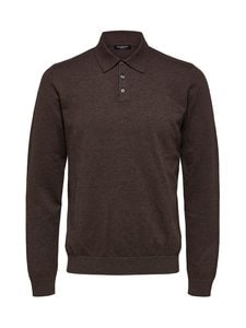 Selected - SlhBerg LS Polo Neck -puuvillaneule - COFFEE BEAN DETAIL:MELANGE | Stockmann