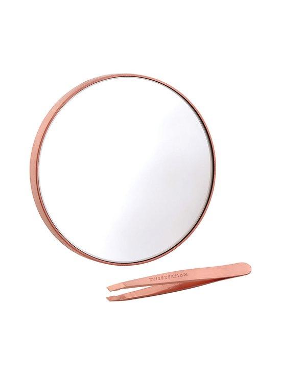 Tweezerman - Rose Gold Mini Slant & Mirror Duo -peili ja pinsetit - NOCOL | Stockmann - photo 1
