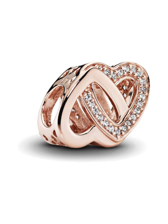 Rose Interlocked Hearts Charm