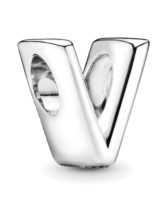 Letter V Silver Charm -koru