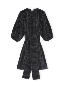 Ganni - Pleated Satin Wide Dress -mekko - BLACK | Stockmann